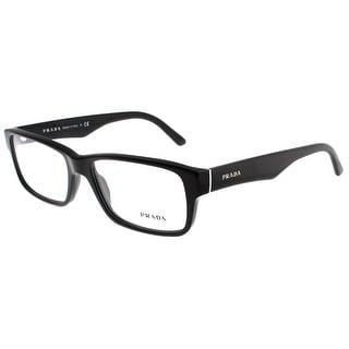 PRADA Rectangular VPR 16M Men's 1AB-1O1 Shiny Black Clear Eyeglasses - 55mm-16mm-140mm
