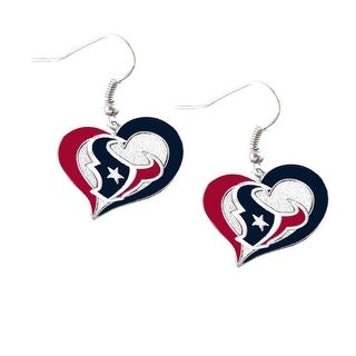 Houston Texans Swirl Heart Earring NFL Dangle Logo Charm Gift