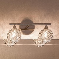 "Luxury Crystal Globe LED Bathroom Vanity Light, 8""H x 13.5""W, with Modern Style, Polished Chrome Finish"