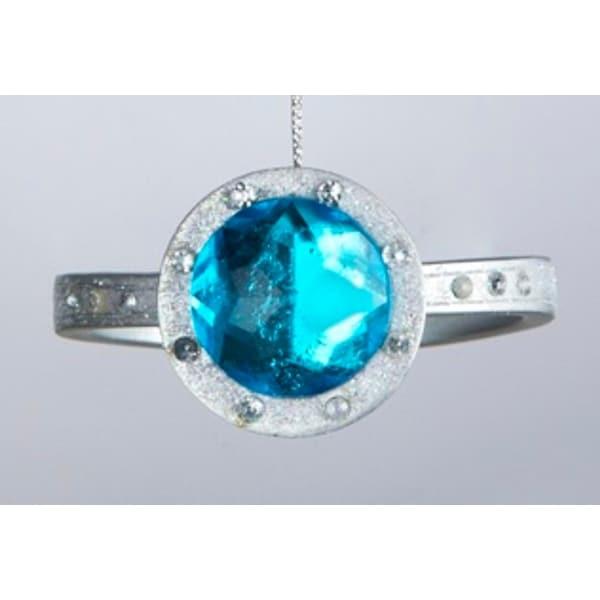 """3"""" Fashion Avenue Blue Gemstone Ring Christmas Ornament"""