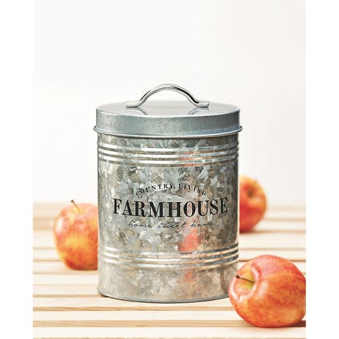 Amici Home Farmhouse Country Living Galvanized Metal Kitchen Storage Canister