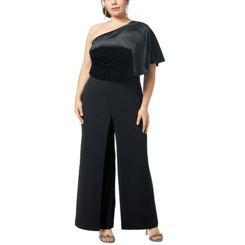 Adrianna Papell Womens Jumpsuit Black Size 18W Plus One Shoulder