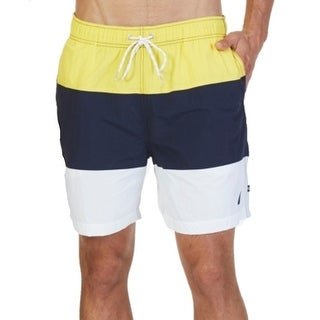 Nautica NEW Yellow Navy Mens Size 2XL Colorblocked Swimwear Trunks