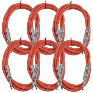 """SEISMIC AUDIO 6 PACK Red 1/4"""" TS 6' Patch Cables - Guitar - Instrument"""