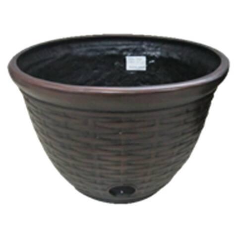 "Liberty GardenA¢ 1920 Wicker Design High Density Hose Pot, Resin, 12"" x 18"""