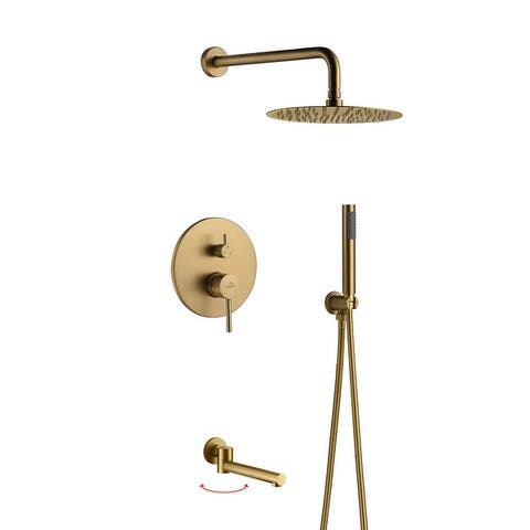 Clihome Round 3 Functions Wall Mount Dual Shower Heads Shower System