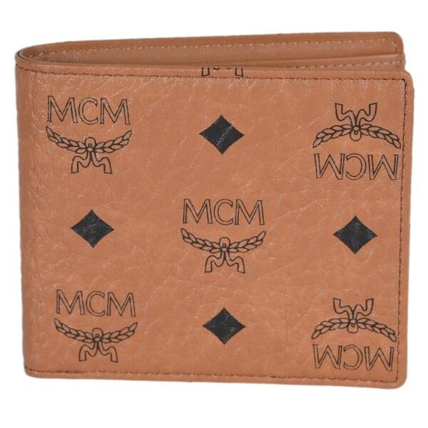MCM Men's Claus Cognac Visetos Coated Canvas Signature Bifold Wallet