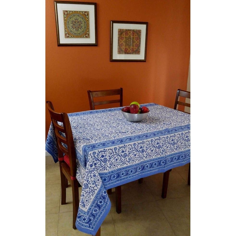 Handmade Floral Rajasthan Block Print Tablecloth 100% Cotton Rectangular Square Round Napkins - Thumbnail 0