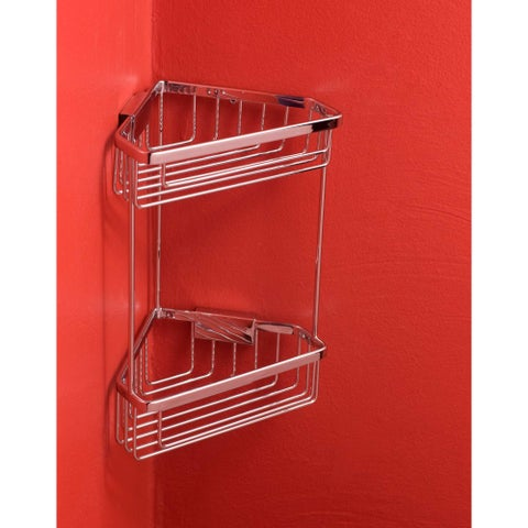 "Bissonnet 644010 City 9-15/16"" Double Tier Corner Shower Basket - CHROME - N/A"