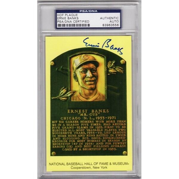 a5cea8a853 Shop Ernie Banks National Baseball Hall Of Fame Plaque Card Psa
