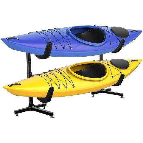 RaxGo Freestanding Kayak Rack, Heavy Duty Storage for Two-Kayak, SUP, Canoe & Paddleboard