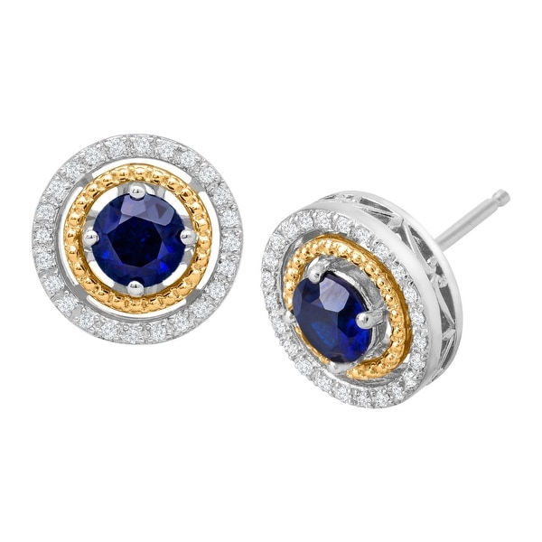 1 1/3 ct Sapphire Stud Earrings with Diamonds in Sterling Silver & 14K Gold - Blue