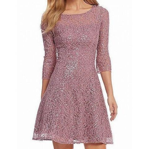 SL Fashions Purple Womens Size 12 Sequined Fit & Flare Sheath Dress