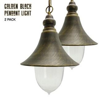 """eTopLighting Deluxe Golden Black Outdoor Hanging Fixtures - 15"""" Pendant Lamp Lights, Set of 2"""