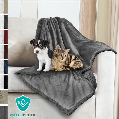 PetAmi WATERPROOF Dog Blanket Plush Sherpa Medium Dog Blanket for Bed, Couch - 30 x 40 Inches