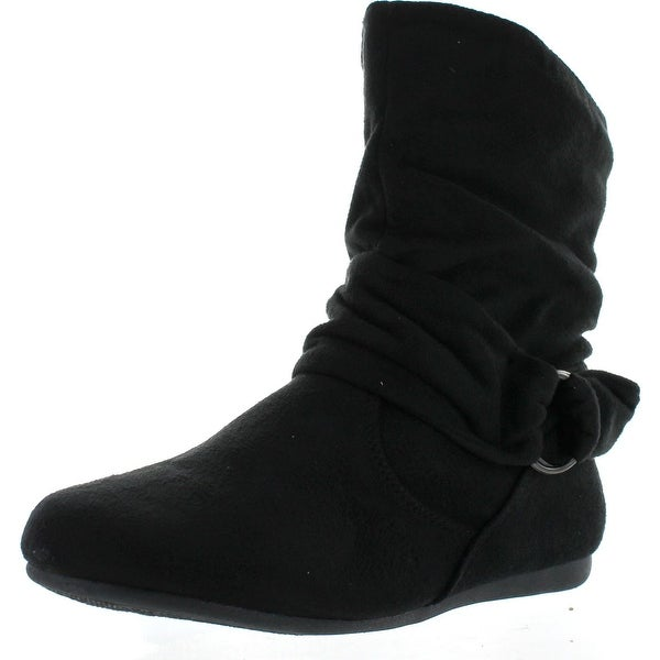 Forever Link Selena-58 Women's Fashion Mid Calf Flat Heel Side Zipper Slouch Boots