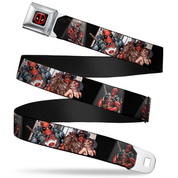Marvel Universe Deadpool Logo Full Color Black Red White Deadpool Spotlight Seatbelt Belt
