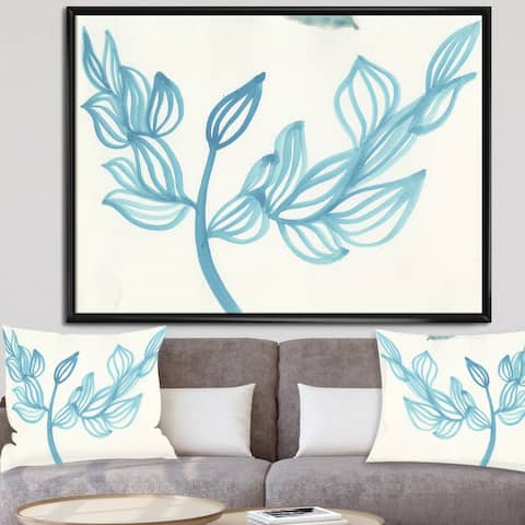 Designart 'Blooming Blue' Mid-Century Modern Gallery-wrapped Framed Canvas