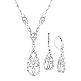 1/3 ct Diamond Necklace & Earring Set in Sterling Silver