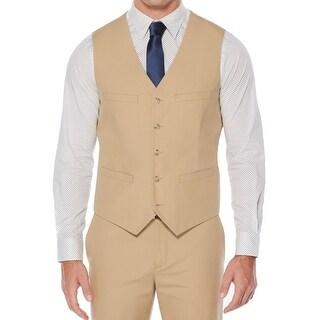 Perry Ellis NEW Beige Mens Size Large L Adjustable Back 5-Button Vest