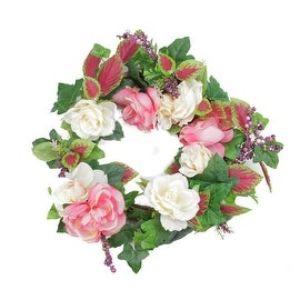 "22.5"" Decorative Cream and Pink Rose Flowers and Berries Artificial Spring Floral Wreath"