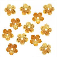22K Gold Plated Large Engraved Flower Bead Caps 10mm (12)