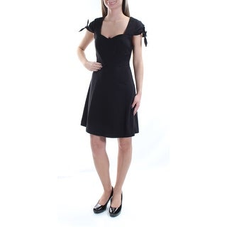 Womens Black Short Sleeve Knee Length Cocktail Dress Size: XS