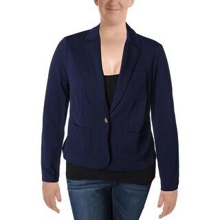 Lauren Ralph Lauren Womens One-Button Blazer Textured Notch Lapel