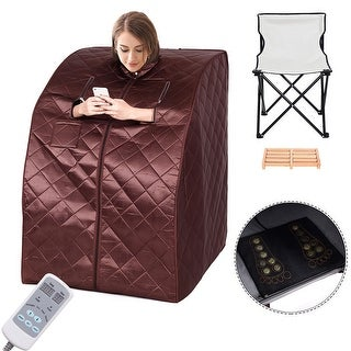 Costway Portable Far Infrared Sauna Spa Full Body Slimming Loss Weight Detox Therapy - COFFEE