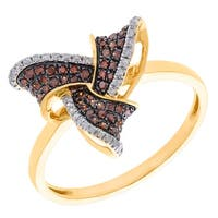 Prism Jewel 0.48Ct Round Brilliant Cut Cognac Color Diamond with Diamond Designer Ring - White G-H