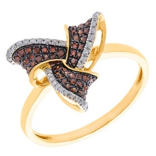 Prism Jewel 0.48Ct Round Brilliant Cut Cognac Color Diamond with Diamond Designer Ring - White G-H