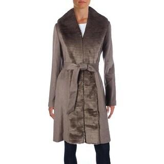 Ellen Tracy Womens Coat Faux Fur Tuxedo