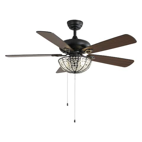"""Black 52"""" Crystal Ceiling Fan with Five Reversible Blades - N/A"""