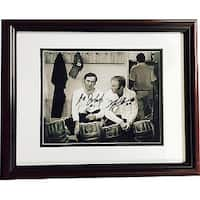 Ed Johnston signed Boston Bruins 8x10 BW Photo Custom Framed with Gerry Cheevers minor ding