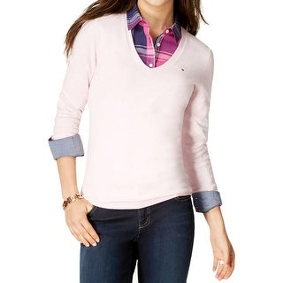 Tommy Hilfiger Womens V-Neck Sweater V-Neck Long Sleeves