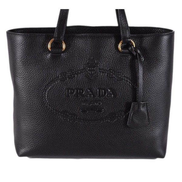 9c451b0e7b84 Prada 1BG100 Black Leather Vitello Daino Embossed Logo Shopper Purse Tote