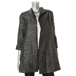 Eileen Fisher Womens Petites High Collar Coat Lined Open-Front Blazer - pp