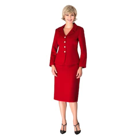 Giovanna Signature 2-piece Notch Collar 4-button Skirt Suit