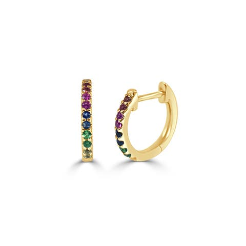 Rainbow Sapphire Huggie Earrings 14k Gold by Joelle Collection
