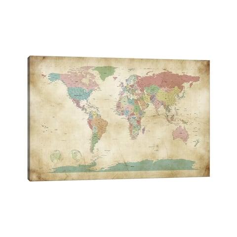 "iCanvas ""World Cities Map"" by Michael Tompsett Canvas Print"