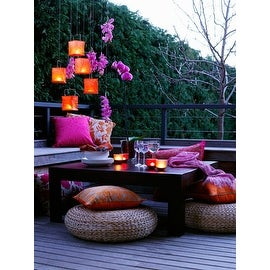 "LED Lighted Pink Orchid and Candle Lantern Patio Party Scene Canvas Wall Art 15.75"" x 11.75"""