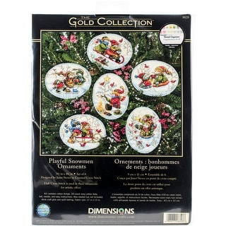 """Gold Collection Playful Snowman Ornaments Counted Cross Stit-Up To 4.5/"""" Set Of 6"""