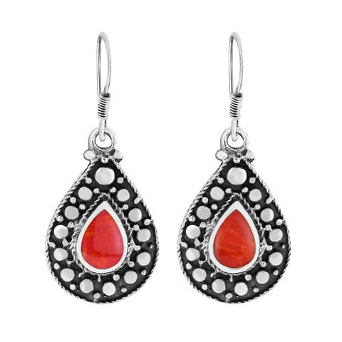 Handmade Casual Chic Dots Teardrop Sterling Silver Dangle Earrings (Thailand)