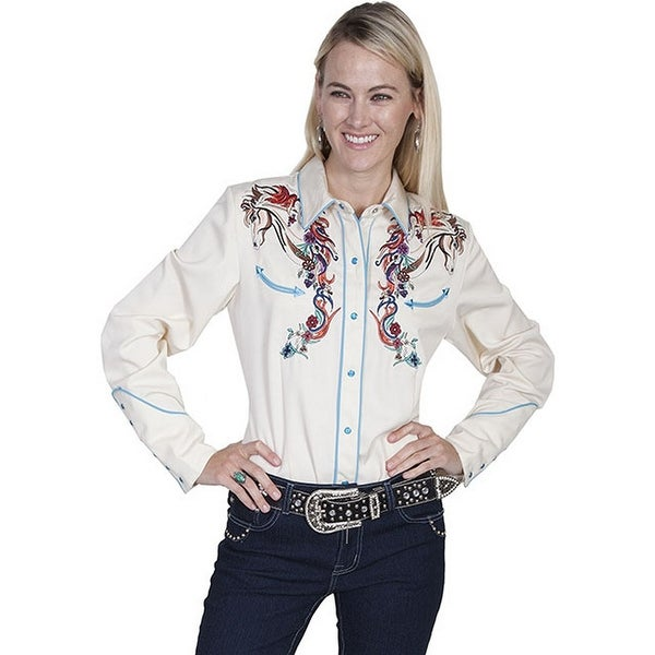 ef675f4a64dab Shop Scully Western Shirt Womens L S Snap Embroidery Horse Floral - Cream -  Free Shipping Today - Overstock - 15444414