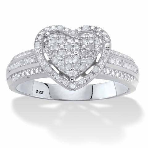 Platinum over Sterling Silver Round Genuine Diamond Heart Ring (1/7 cttw, IJ Color, I2-I3 Clarity)