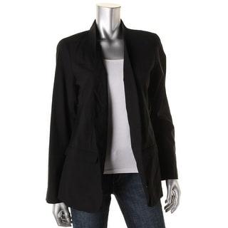 Eileen Fisher Womens Wool Silk Lined Open-Front Blazer - M