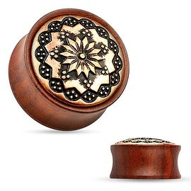 Floral Tribal Pattern Rose Wood Saddle Fit Plug (Sold Individually)