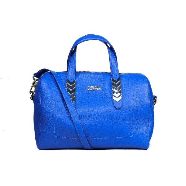 0eb0bba232 Versace Collection Blue Pebbled Leather Arrow Top Handle Shoulder Bag