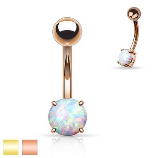 Basic Non Dangle Synthetic Opal Prong Set 316L Surgical Steel Plated Belly Navel Ring