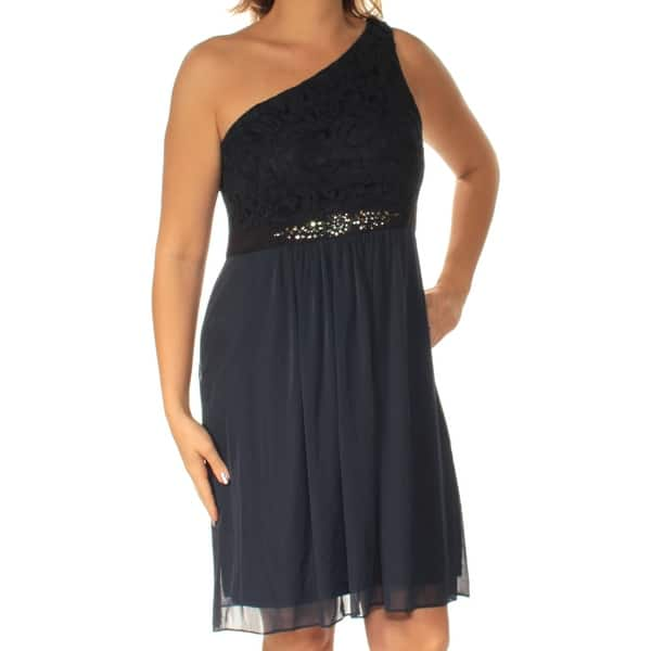 Adrianna Papell Womens Navy Lace Sleeveless Asymetrical Neckline Knee Length Fit Flare Dress Size 18